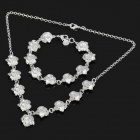 Charming Nine Flower Rose Style Necklace + Bracelet Set - Silver