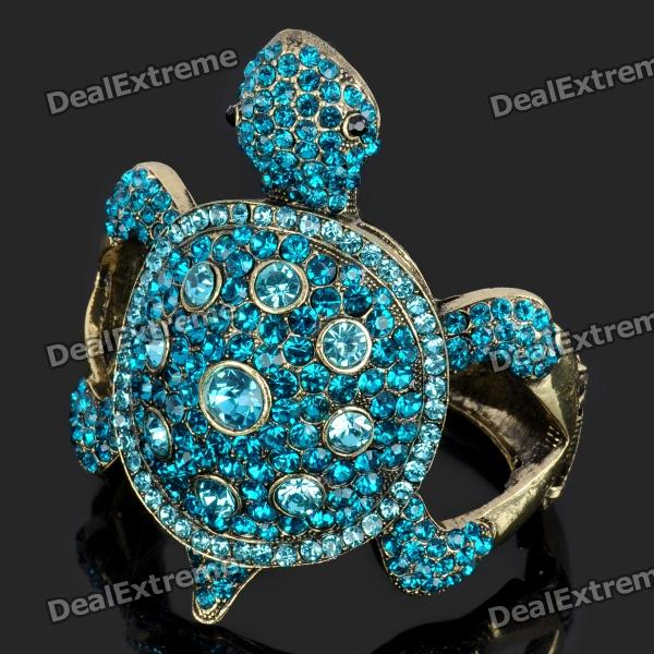 Cute Turtle Style Zinc Alloy Blue Rhinestone Bracelet - Blue + Golden portable ultra bright waterproof aluminum alloy mini led flashlight