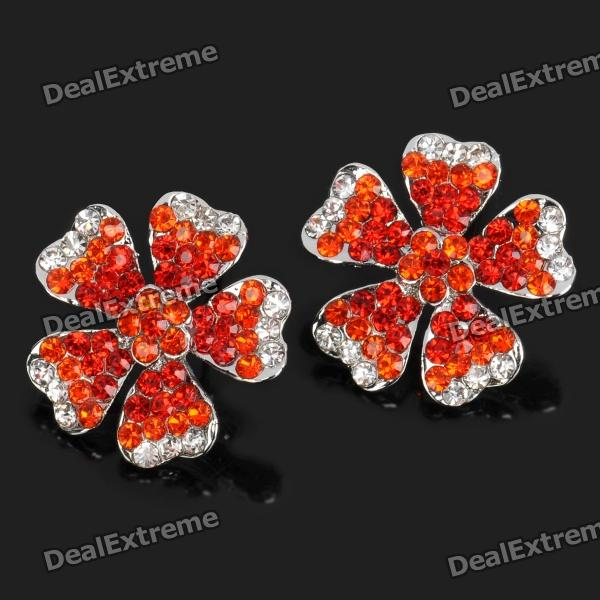 Charming Plum Blossom Zinc Alloy Rhinestone Earrings - Red + Silver (Pair) square shaped stylish crystal zinc alloy stud earrings black bronze pair