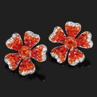 Charming Plum Blossom Zinc Alloy Rhinestone Earrings - Red + Silver (Pair)