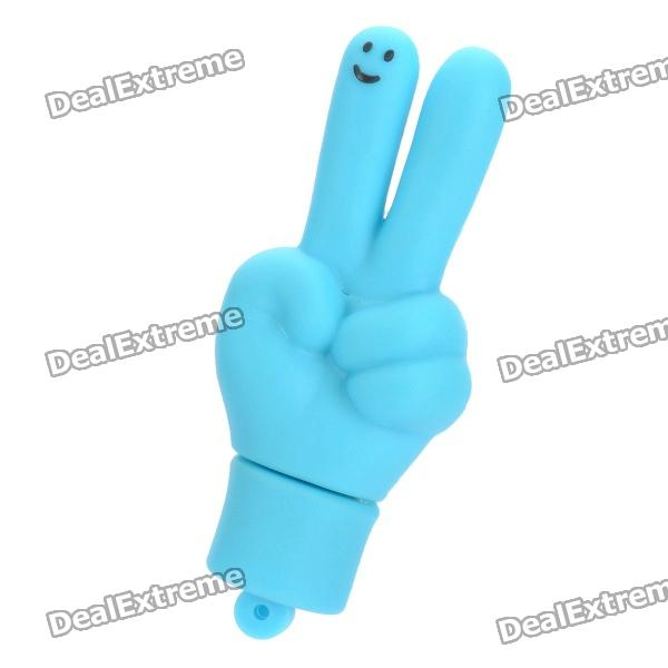 Cute V Gesture Style USB Flash Drive - Blue (8GB) palm style usb flash drive blue 8gb