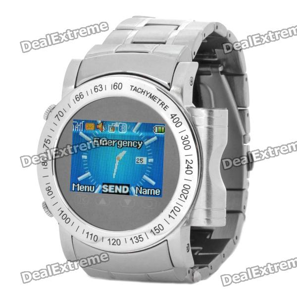 "W980 GSM Touch Watch Phone w/1.3"" Resistive Touch Screen, Quadband, Bluetooth 2.0 and FM - Silver"