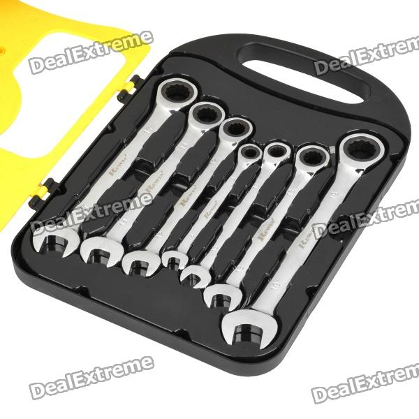 Chrome Vanadium Steel Ratchet Combination Spanner Wrench (7-Piece Pack)