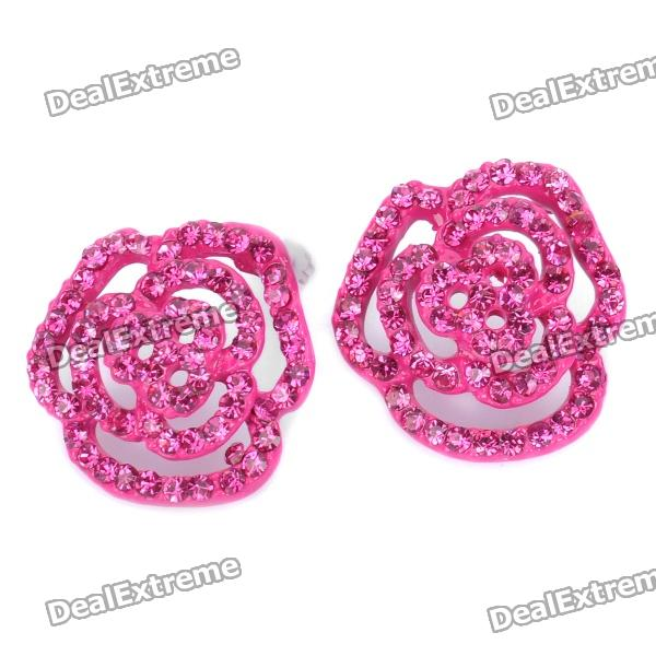 Stylish Shining Rose Style Rhinestone Earrings (Pair) stylish shining rhinestone zinc alloy earrings golden