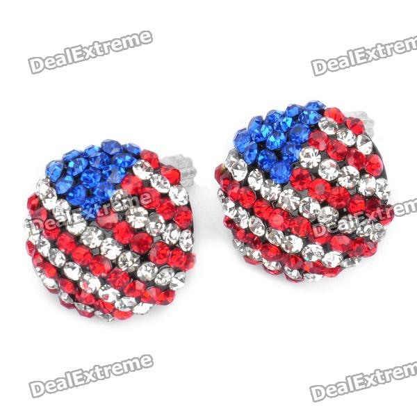 Stylish Shining USA National Flag Pattern Rhinestone Earrings (Pair) pu leather usa boxing gloves with american flag pair