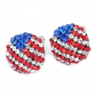 Stylish Shining USA National Flag Pattern Rhinestone Earrings (Pair)