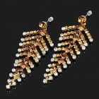 Stylish Shining Leaf Style Rhinestone Earrings (Pair)