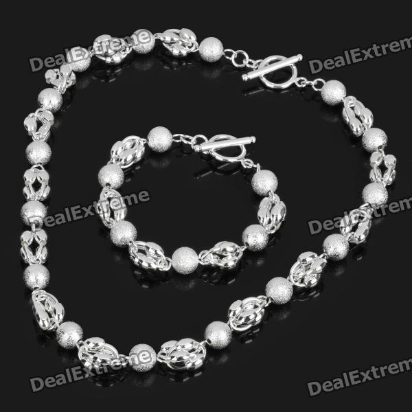 Silver Plating Brass Olive and Ball Style Necklace + Bracelet Set - Silver (2-Piece Pack) от DX.com INT