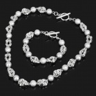 Silver Plating Brass Olive and Ball Style Necklace + Bracelet Set - Silver (2-Piece Pack)