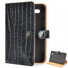 Protective Crocodile Grain Pattern PU Leather Case for Samsung Galaxy Tab P1000 - Black
