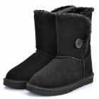 Women's Winter Mid Calf Warm Snow Boots Shoes - Black (EUR Size-37)