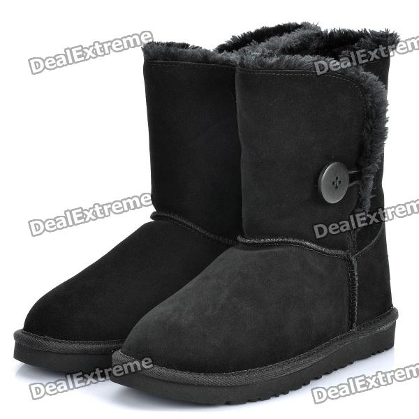 Women's Winter Mid Calf Warm Snow Boots Shoes - Black (EUR Size-39)