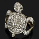 Cute Turtle Style Zinc Alloy White Rhinestone Bracelet - White + Golden