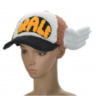 Dr.Slump Arale Chan Cap Hat with Angel Wings for Cosplay (Black + White + Brown)