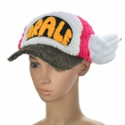 Dr.Slump Arale Chan Cap Hat with Angel Wings for Cosplay (Deep Pink + White + Deep Green)