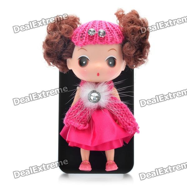 Case & Stand for iPhone 4/4S with Ddung Doll - Black + Pink