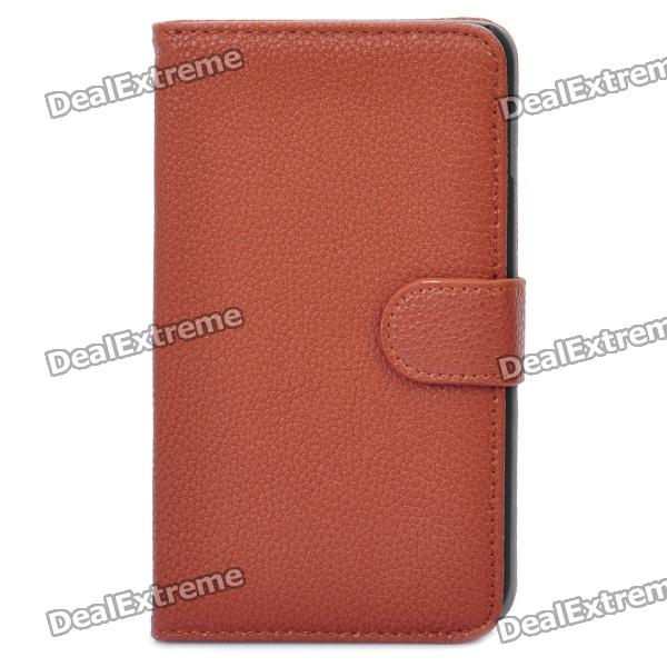 Protective PU Leather Flip-Open Case for Samsung Galaxy Note / N7000 / i9220 - Brown protective leather case screen protectors for samsung galaxy note i9220 gt n7000