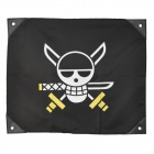 Anime One Piece Skull Style Flag Toy - White + Yellow + Black