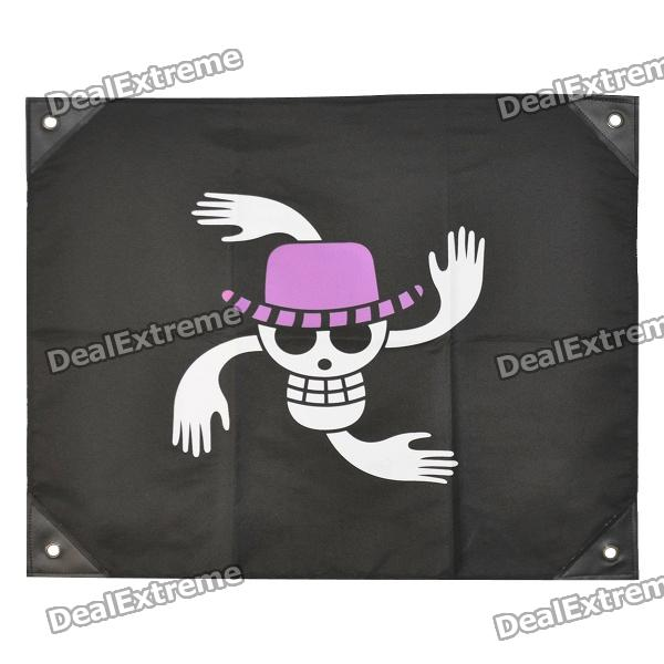 One Piece Nico Robin's Jolly Roger Pirate Flag - White + Purple + Black