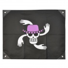 One Piece Nico Robin&#039;s Jolly Roger Pirate Flag - White + Purple + Black