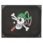 One Piece Usopp&#039;s Jolly Roger Pirate Flag - White + Green + Black