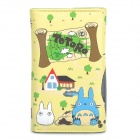 Cute Totoro Style PU Leather Card Holder Wallet with Zipper Coin Purse - Grey + Yellow + Green