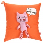 Fabric Art Cute Pig Throw Pillow - Orange
