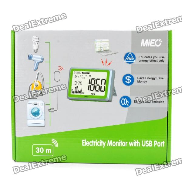 "MIEO 4.2"" LCD Wireless Home Electricity Energy Monitor - White (3 x AA + 3 x AAA) [����10]"