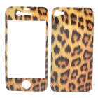 Decorative Protective Front + Back Cover Skin Sticker for iPhone 4 - Cool Leopard Pattern
