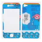 Decorative Protective Front + Back Cover Skin Sticker for Iphone 4 - Cute Cartoon Bear Pattern