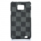 Protective PC Matting Case Cover for Samsung i9100 - Black Grid
