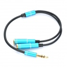 1 x 3.5mm Male to 2 x 3.5mm Female Adapter Audio Cable - Sapphire Blue + Black (27cm)