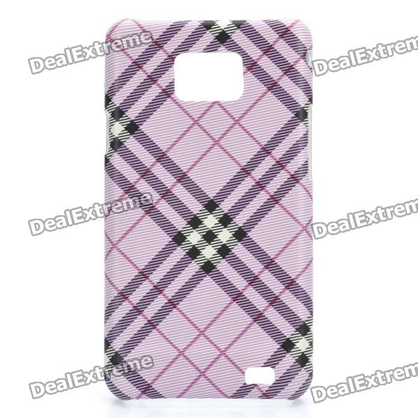Protective PC Matting Case Cover for Samsung i9100 - Purple Red Twill Grid
