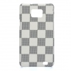 Protective PC Matting Case Cover for Samsung i9100 - White + Black Grid