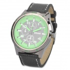 Fashion PU Band Wrist Watch - Black + Green (1 x AG4)