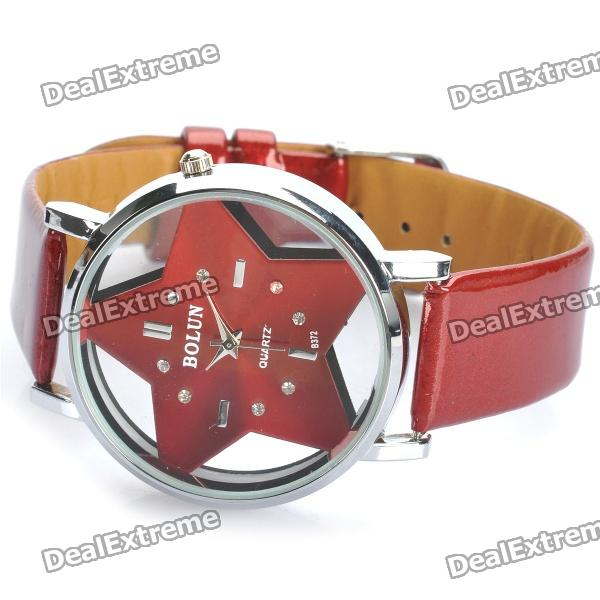 Fashion Five-Pointed Star Analog Quartz Wrist Watch - Red