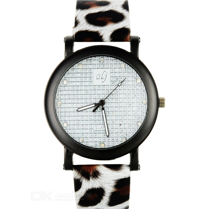 Fashion Leopard Grain Rhinestone Decoration Wrist Watch