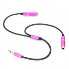 1 x 3.5mm Male to 2 x 3.5mm Female Adapter Audio Cable - Purple + Black (27cm)