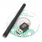 Mini 100mW 150Mbps adaptador de red wifi USB w / antena - negro