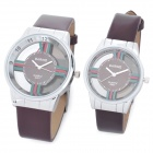 Hollow Out A501 Quartz Electronic Wristwatch for Lovers and Couples - Brown (Pair/Set)