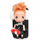 Cute Protective Case with Decorative Ddung Doll Stand Holder for iPhone 4 / 4S - Black