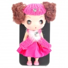 Cute Protective Case & Stand Holder with Ddung Doll for iPhone 4 / 4S - Deep Pink + Black