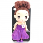 Cute Protective Case with Decorative Ddung Doll Stand Holder for iPhone 4 / 4S - Purple + Black