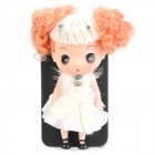 Cool Protective Case with Decorative Ddung Doll Stand Holder for iPhone 4 / 4S - White + Black
