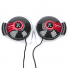 HYUNDAI Ear-Hook Earphone w/ Microphone - Black + Red (3.5mm-Plug / 204cm-Cable)