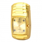 Stylish Cool Metal Watch w/ 4-LED Colorful Flashing Light + Windproof Gas Lighter - Golden