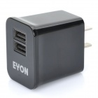Eyon Dual USB Power Adapter w / Adapter für Handy + More (AC 100-240V / 2-Flat-poliger Stecker)