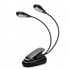 USB/3xAAA Powered Clip-on Double-Head Flexible Neck 2-Mode 4-LED White Light Lamp