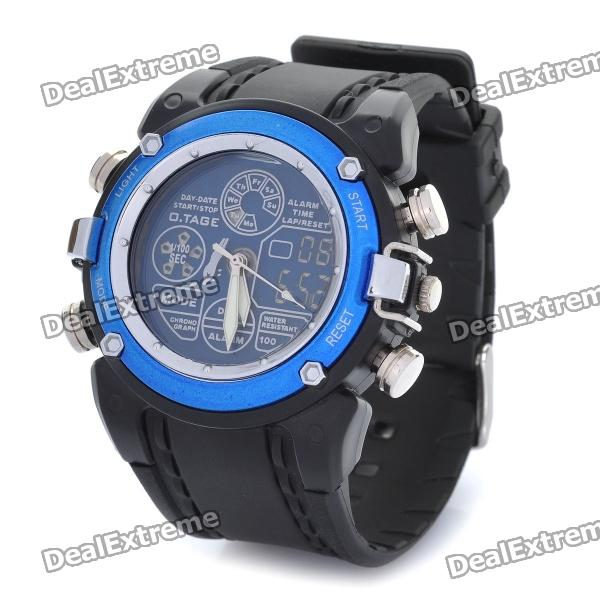 OTAGE Sports Waterproof Dual Time Display Wrist Watch w/ Alarm / Stopwatch - Blue (1 x CR2016) skmei fashionable waterproof led digital wrist watch w compass black 1 x cr2016