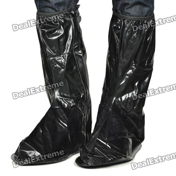 Motorcycle Bicycle Cycling Waterproof Rain Boot Shoe Covers - Black (XXL / Pair)